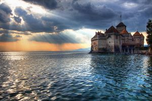 Sunset over Chateau de Chillon