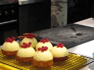 Fresh out of the oven...lemon tartes with red currants on top!