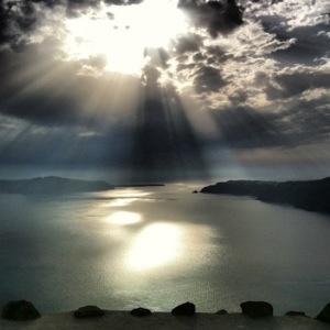 The famous Santorini caldera sunset...