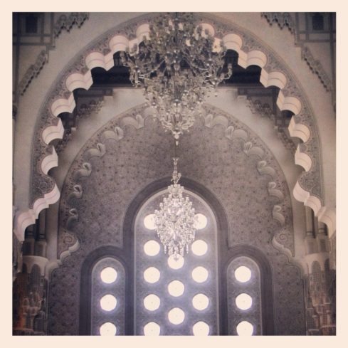 Chandeliers & windows inside the Hassan II Mosque