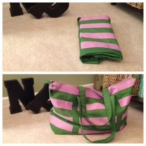 My pink & green collapsible tote!  A must-have travel item.