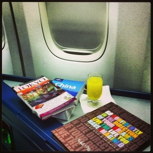 My fabulous Erin Condren iPad Folio along with a delicious mimosa & travel guides!
