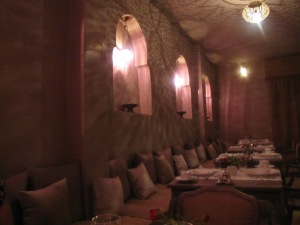 Ambient lighting in the dining room with their beautiful Moroccan lamps.
