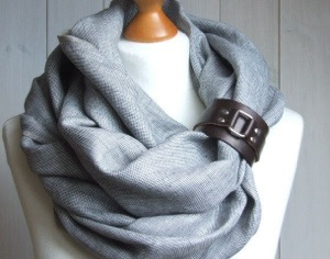 In LOVE!  This linen scarf comes with a gladiator-style bracelet that gives it a little edge.  I've not seen anyone else with this type of scarf since I've been wearing it.